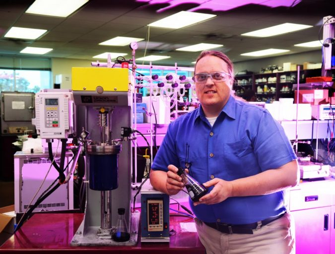 """Richard Blair developed a clean process for """"unlocking"""" graphene from its native graphite in his lab at UCF."""