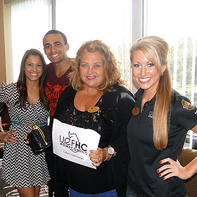 L-R: Former Miss UCF Dasha Gonzalez; Nathan Peoples─former cheerleader and winner of Callarman Award in Cheerleading; Kristina Grabnickas, Health Services and Leanza Altenderfer, royalty director UCF. The photo was taken by Dillon Burleson─First Year Advising and Exploration, who was also was a judge.