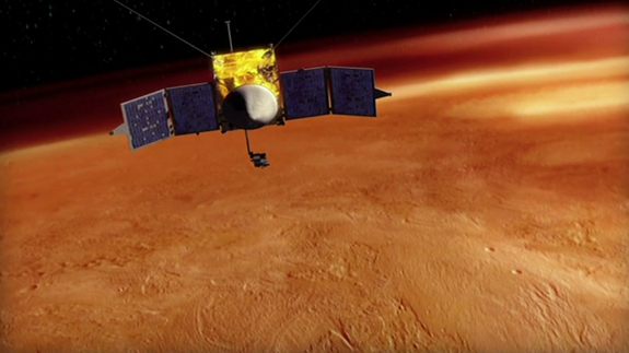 This artist's conception shows the NASA's MAVEN spacecraft orbiting Mars.