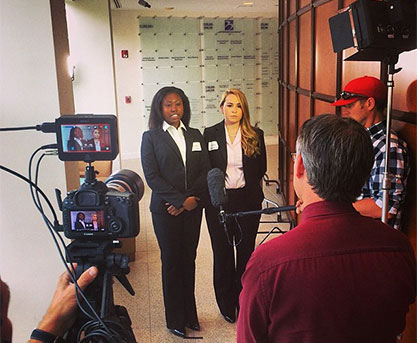 Taylor Cheeley and Nicole Enterlein are interviewed after receiving first place in USF's State of Florida Healthcare Innovation Competition.