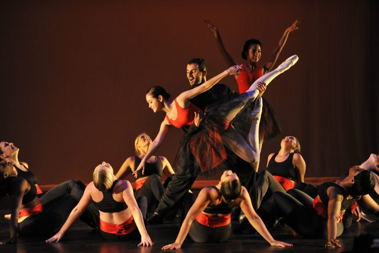 ucf ballet dancers in red and black