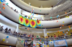 Students gathered around the atrium in the Student Union to witness the reveal