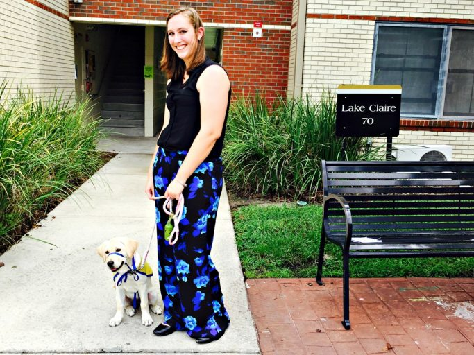 Morgan Bell is the first UCF student to have a service dog-in-training live with her in campus housing.