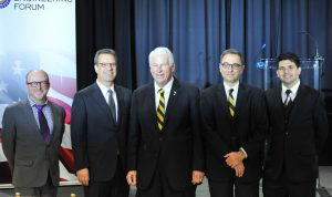 (Pictured from left): Chad Evans, Council on Competitiveness; Jeff Wilcox, Lockheed Martin, John Hitt, UCF; Michael Georgiopoulos, UCF and Albert Manero, Limbitless Solutions.