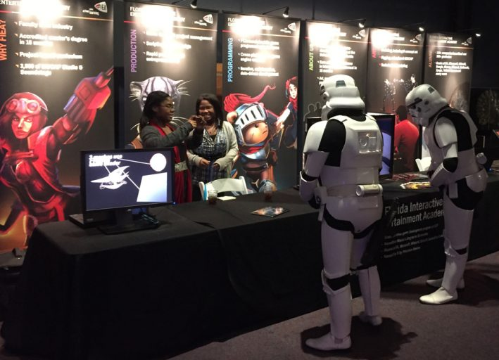 Stormtroopers visit the Florida Interactive Entertainment Academy booth at the 2015 Otronicon.