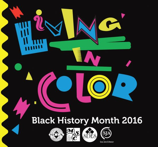 living in color flyer, black history month 2016