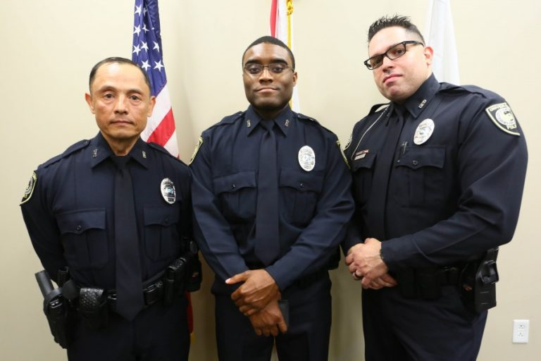 Ofcs. Ryley, Thompson and Quiles were sworn in as UCF Police officers Thursday, March 31. Photo: Nick Russett