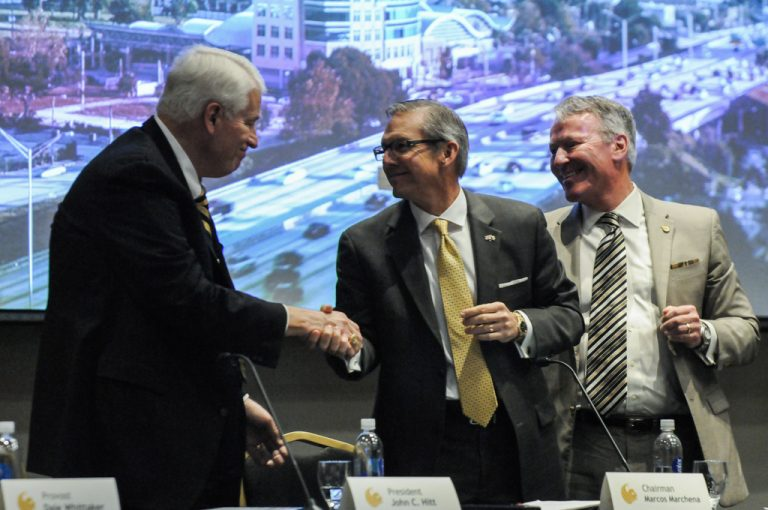 UCF President John C. Hitt, UCF Board of Trustees Chairman Marcos Marchena, and Orlando Mayor Buddy Dyer after Wednesday's Board of Governor's vote. (Photo by Nick Russett/UCF)
