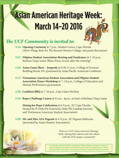 Asian American Heritage Week flyer and schedule