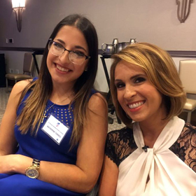 UCF senior Katherine Torres (left) poses for a picture with News 13 Anchor and UCF Alumni Member, Ybeth Bruzual. Bruzual hosted the Everyday Heroes Luncheon.