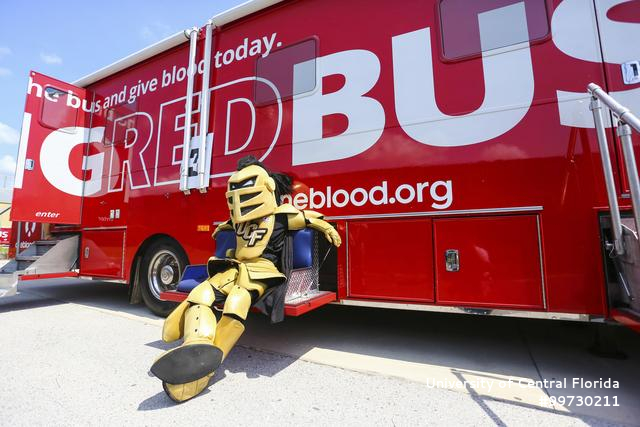 Knightro and Big Red One Blood Bus