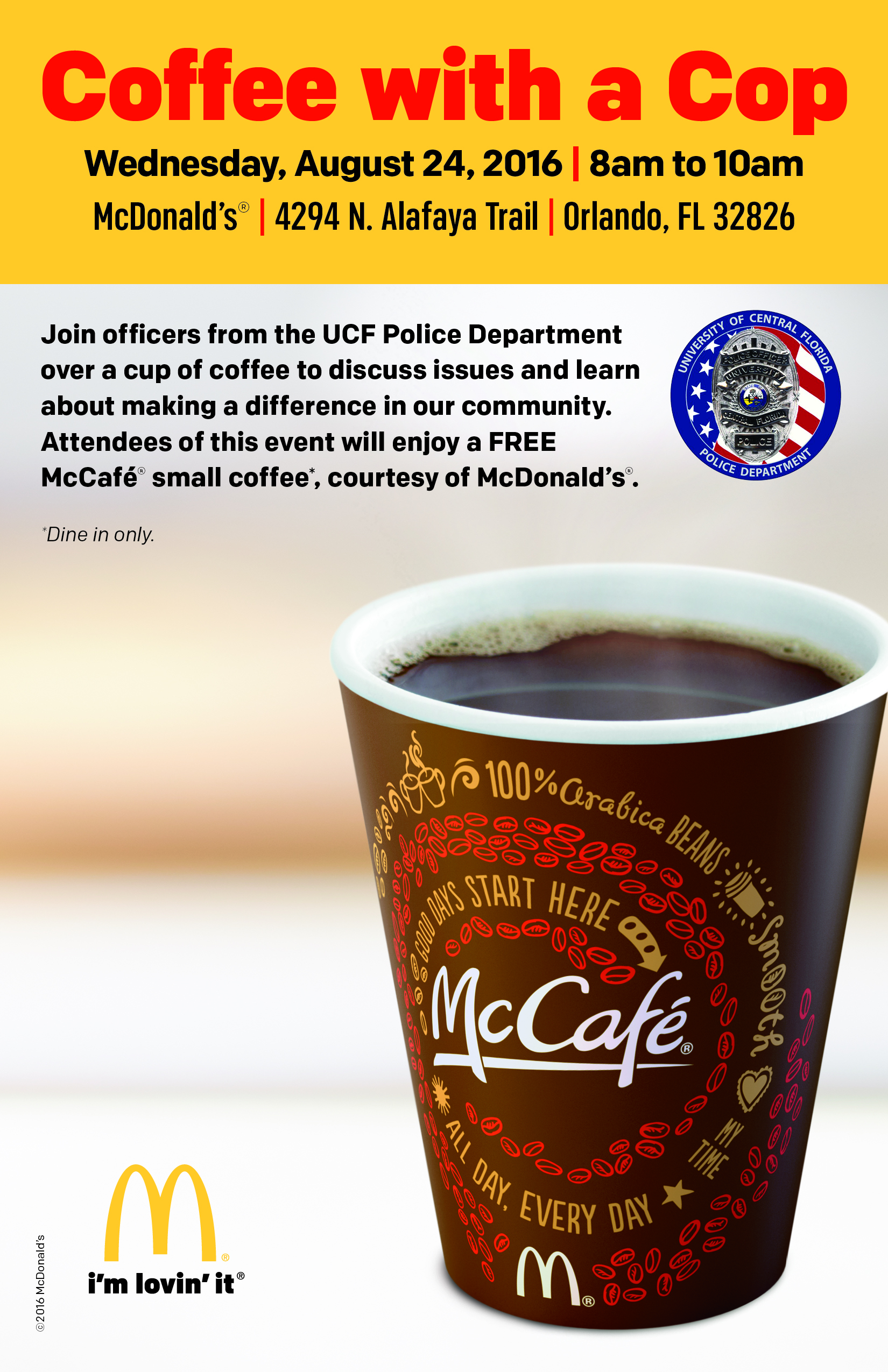 ucfpd  mcdonald u2019s partner for coffee with a cop