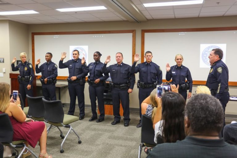 UCFPD Chief Richard Beary swears in Lt. Christine Gigicos and six new patrol officers. Photos: Nick Russett