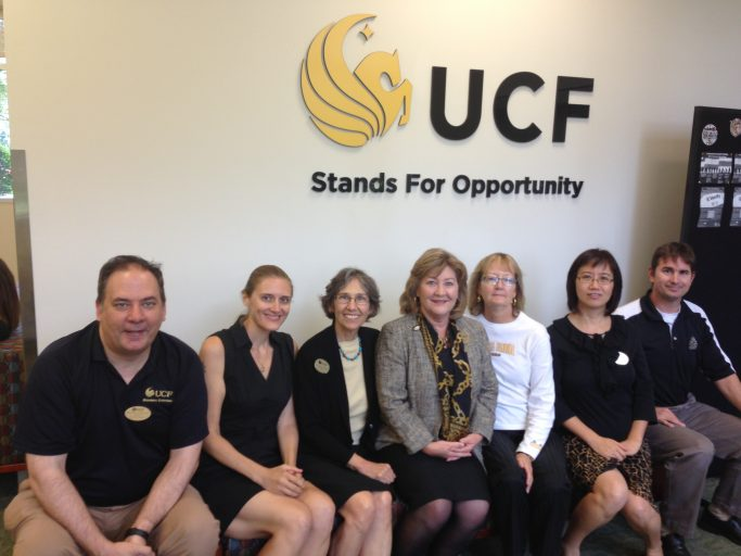 Some of the UCF librarians who help with online instruction: Michael Furlong, Carrie Moran, Cynthia Kisby, Peggy Nuhn, Barbara Alderman, Min Tong and Andy Todd.