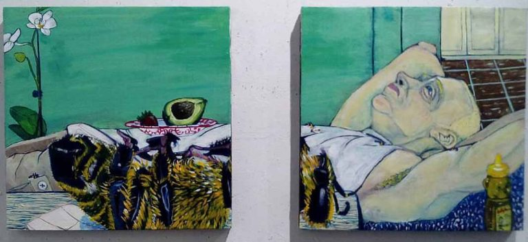 """""""When You Remember That Bees Are Dying at an Alarming Rate"""" (2016), a 24""""x24"""" acrylic on canvas diptych by UCF student Chris Rivera."""