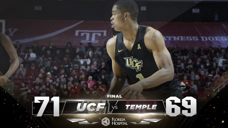 ucf mens basketball player and final score against temple 71-69, ucf wins