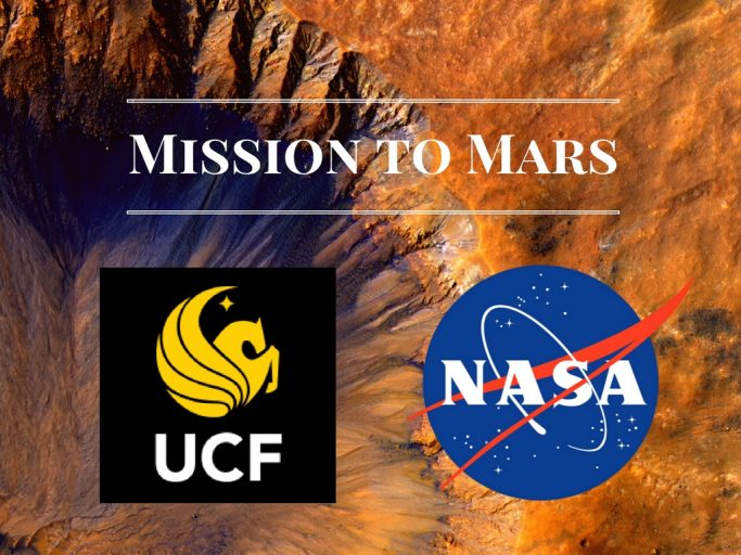 "background of mars with white lettering 'MISSIONS TO MARS"" with the UCF and NASA logos below"