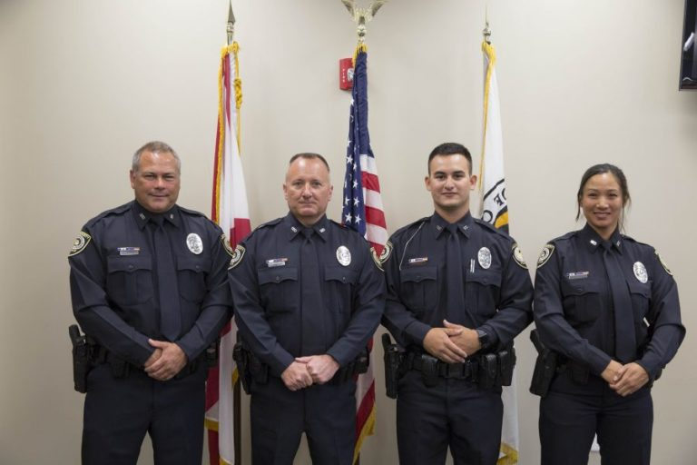 Officers Alfonso Tejeira, Eric Bryant, Jose Morales and Maya Tolentino were sworn into UCFPD Monday, March 20.