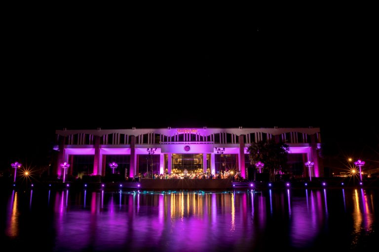 millican hall lit up purple