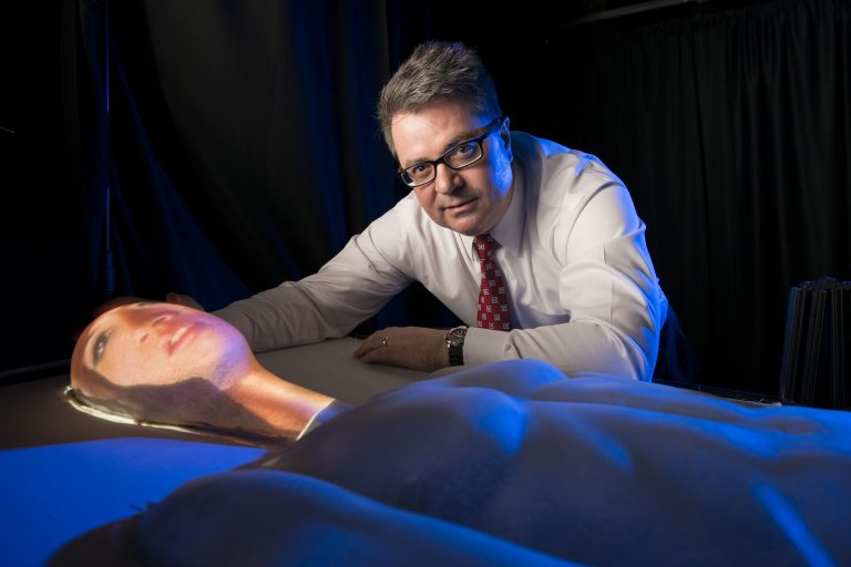 Greg Welch and the physical-virtual patient bed or PVPB