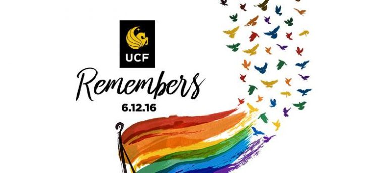 "ucf logo with the word ""remembers .12.16"" above a rainbow flag turning into birds"