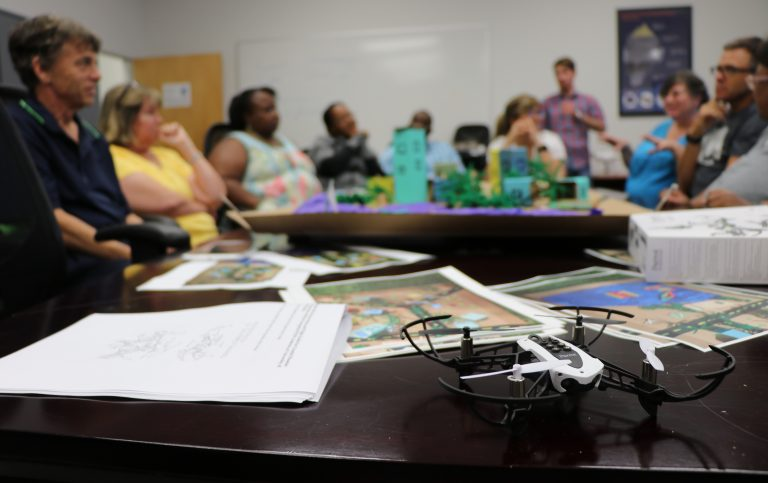 The mini drone teachers got to take home to incorporate in their science lesson plans. Photo by Lain Graham.