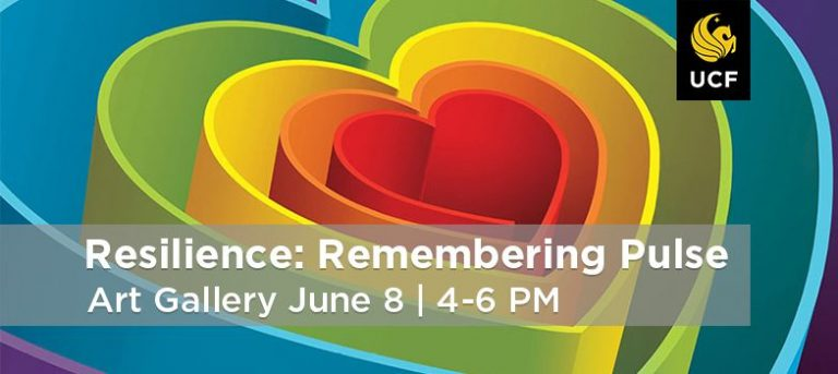 Resilience: Remembering Pulse logo: Hearts stacked inside of each other in the color of the rainbow
