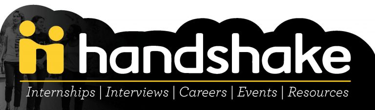 "handshake logo: white words ""handshake, internships, interviews, careers, events, resources"" on black background"