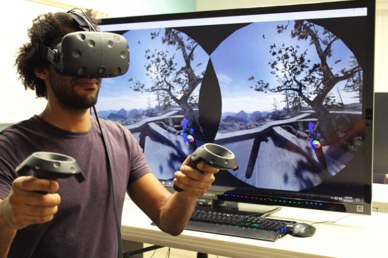 ucf student in Augmented Reality Lab