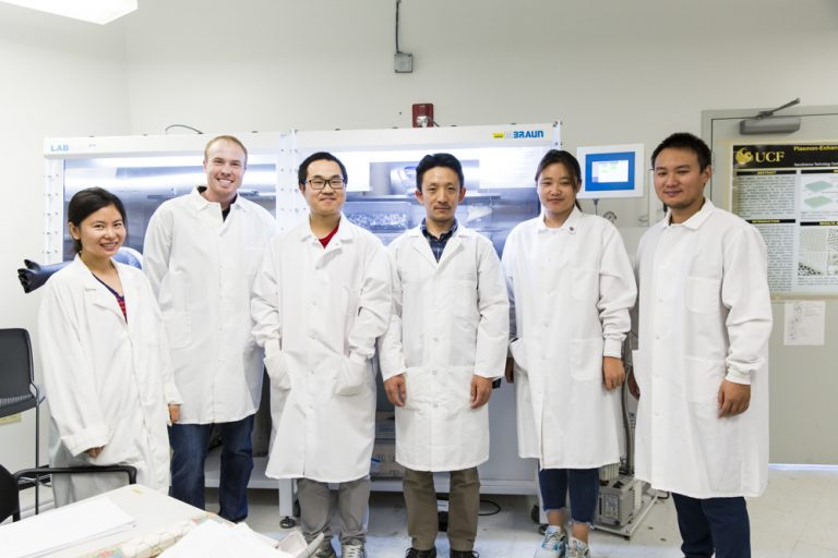 Lab Researchers Zhao Li, Kyle Marcus, Kun Liang, Assistant Professor Yang Yang, Guanzhi Wang and Wenhan Niu are developing new energy technologies.