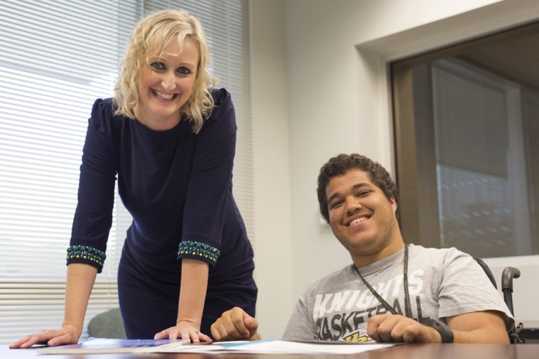 Left to right: Megan Sherod, UCF Adaptive Community Project creator, and Jonathan Trufant, UCF student and project volunteer.