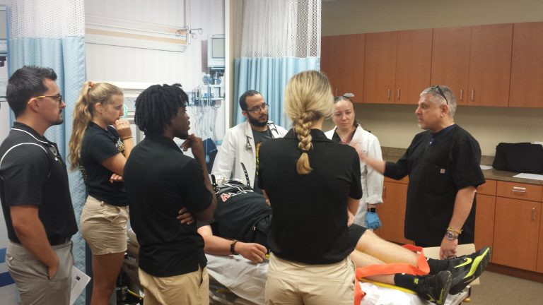 Athletic training and nurse practitioner students learn together.