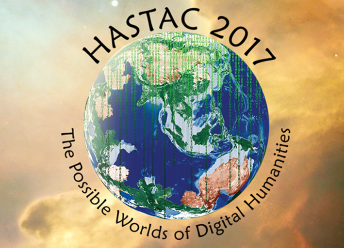 hastac logo, globe with black words written in arching shape around the world.