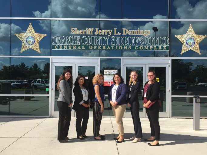 The first all-female class of UCF interns in the Law Enforcement Officer Training Corps Program.