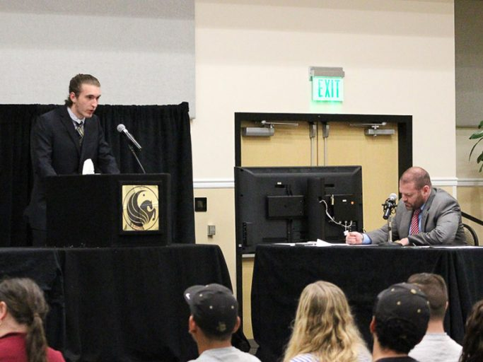 Student actors and professionals from campus and the community play different roles in the mock trial.