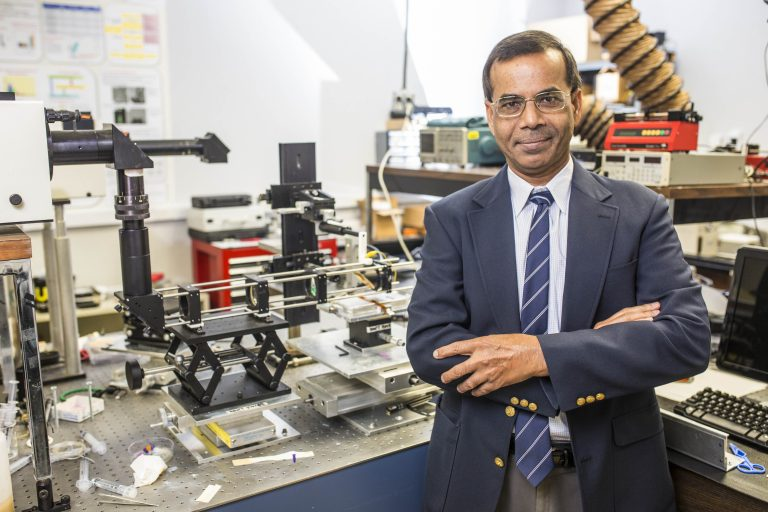 Aravinda Kar in his lab
