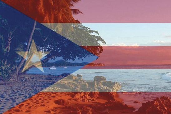 Puerto Rico's flag superiimposed over view of coastline