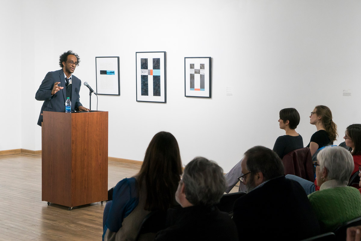 """""""I think of writing as an act of faith,"""" Mengestu said during his reading. (Photo by Bernard Wilchusky '18)"""