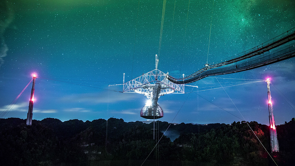 The observatory's radar system gathers information about planets, moons, asteroids and comets. (Image courtesy of Arecibo Observatory, a facility of the NSF)