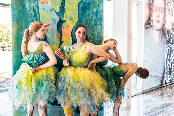 "Students from the School of Visual Arts and Design as tableau vivant (living art), recreating Edgar Degas' ""Ballet Dancers in the Wings"" at the 2017 UCF Celebrates the Arts. (Photo by Tony Firriolo)"
