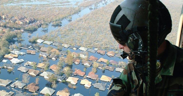 pilot overlooking flooded area