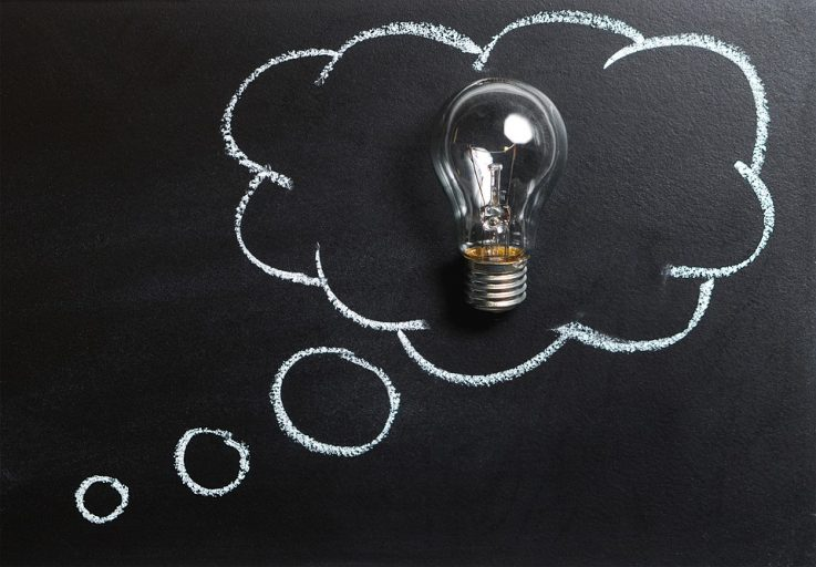 Lightbulb in a thought cloud
