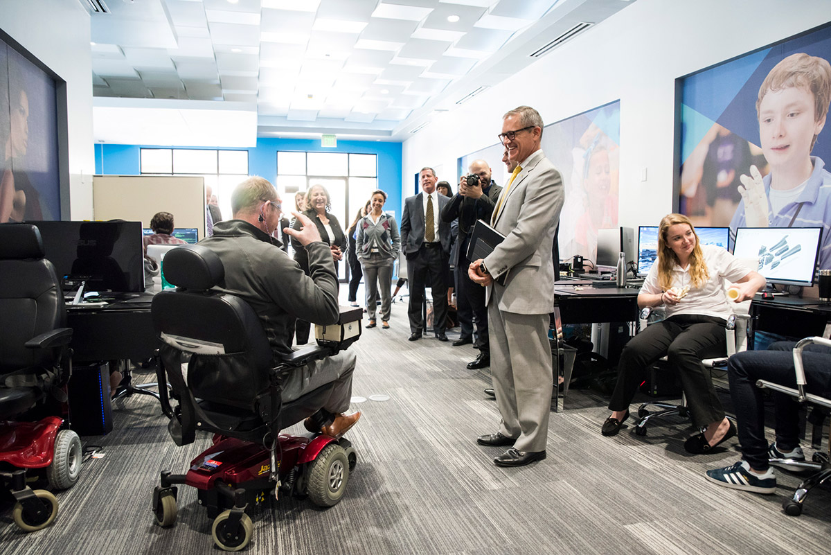 During the interview process, Whittaker met with UCF researchers at Limbitless Solutions, a nonprofit started by an alumnus that provides affordable 3D-printed bionic limbs for children. (Photo by Nick Leyva '15)