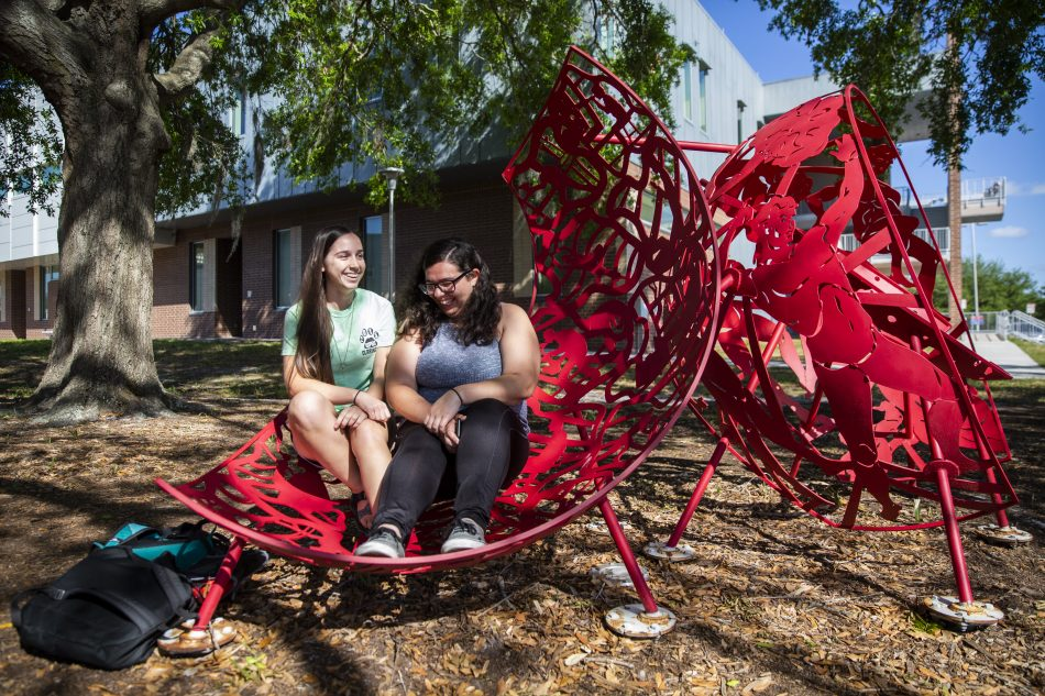 Not only are the Cyclorama Sculptures outside the School of Performing Arts eye-catching, but they provide unique seats that you are absolutely encouraged to sit in.