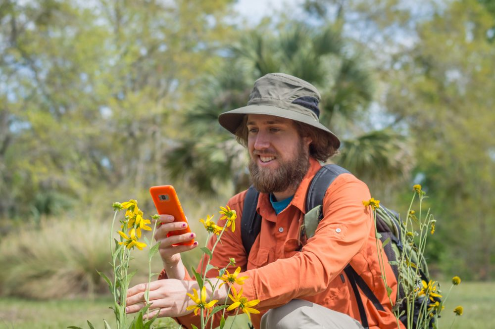 man with orange long sleeve shirt, brown backpack and tan hat kneeling down taking a picture of bees on his cell phone