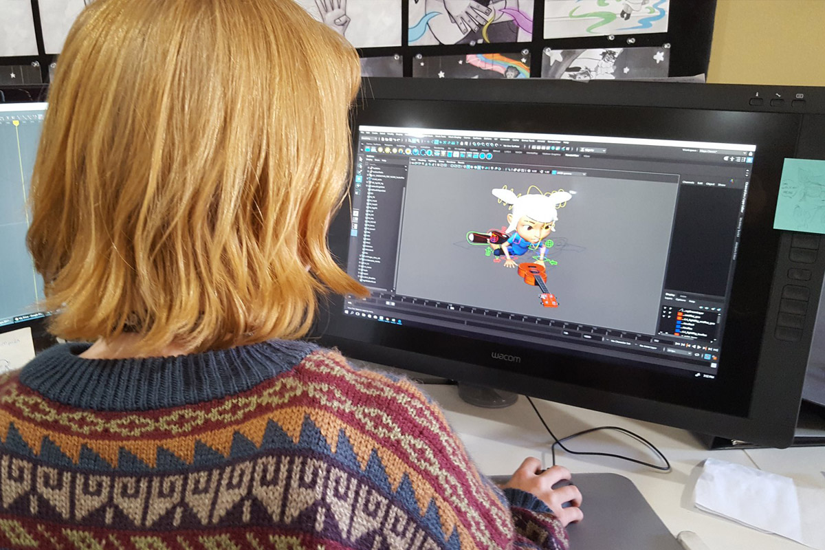 "Senior Character Animation major Haleigh Mooney works on animating ""Ukelayla."""