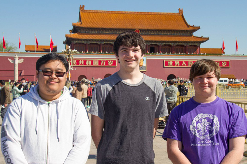 Computer science students Eric Ly, Alex Coleman and Timothy Buzzelli represented UCF at the International Collegiate Programming Contest in Beijing.