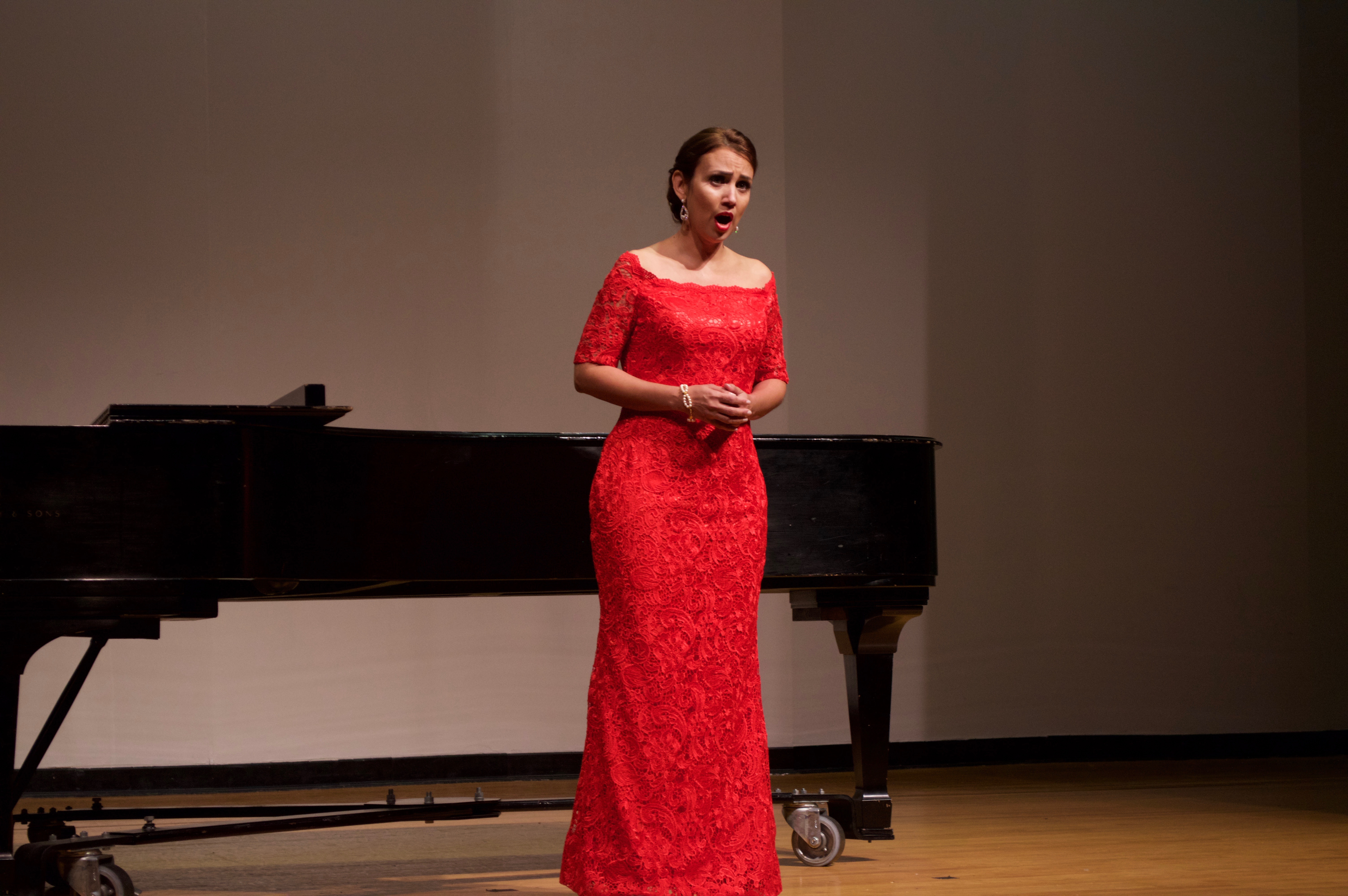 Master's student Arleen Ramirez performs a solo during her grad recital at UCF.