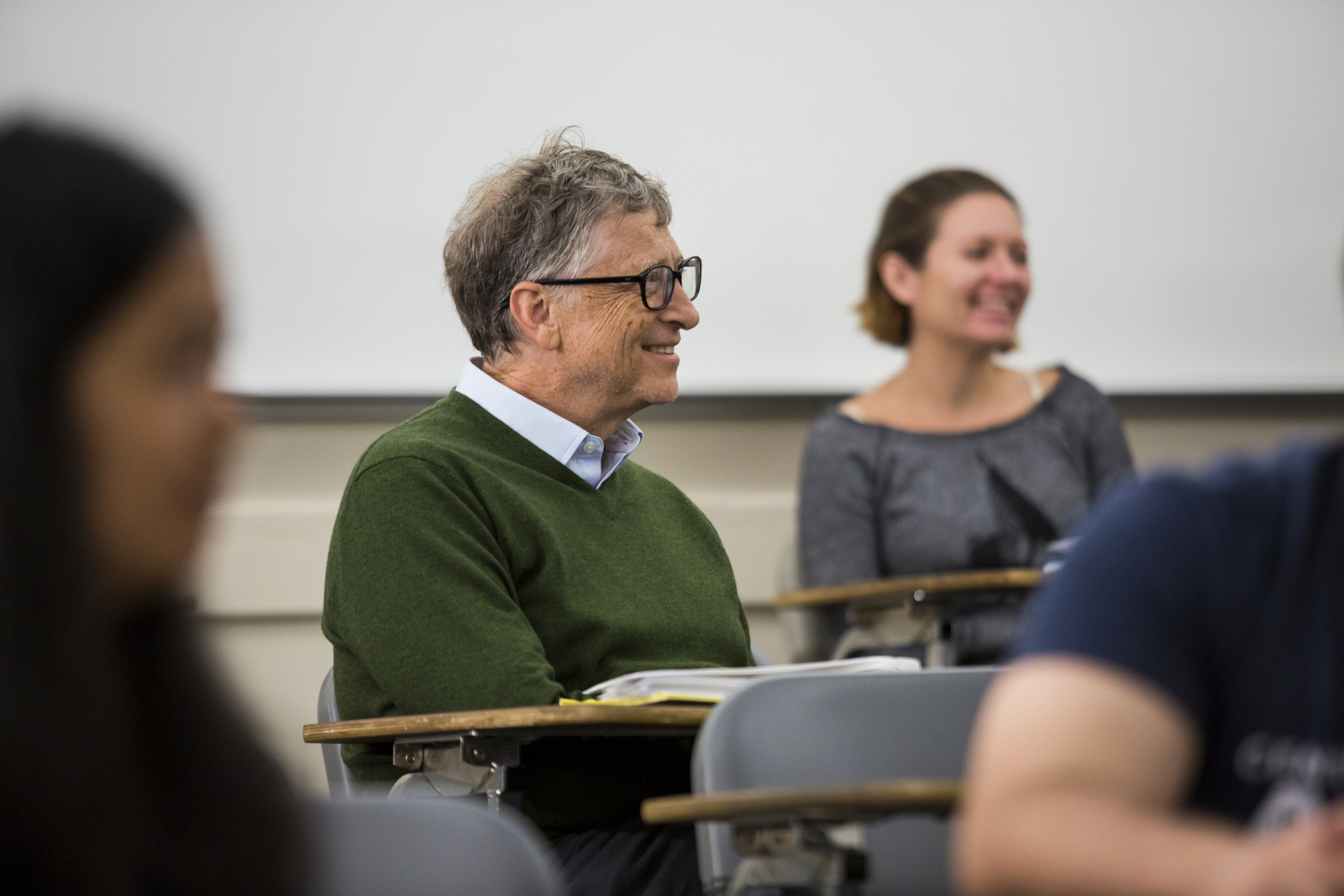 Bill Gates at student desk