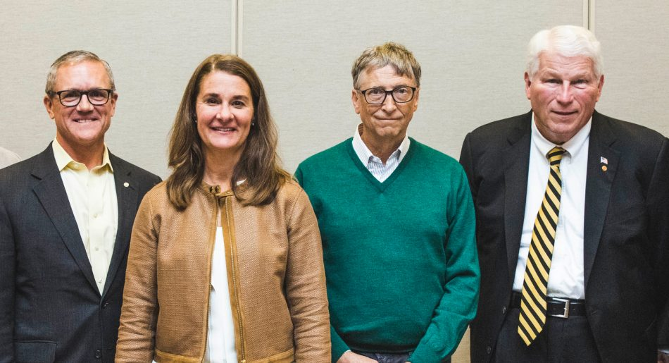 University of Central Florida President-elect Dale Whittaker, Melinda Gates, Bill Gates and UCF President John Hitt during a visit to UCF. (Photo by Austin Warren)